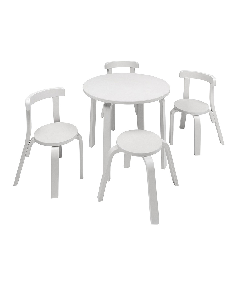 SCS Direct  Toy Furniture  - White Play with Me Five-Piece Table & Chair Set