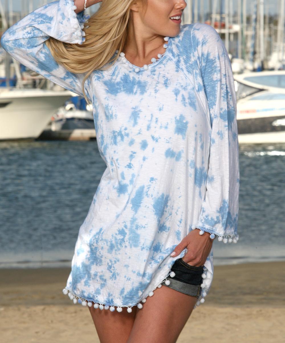 Ananda's Collection Women's Tunics Ocean - Ocean Blue & White Tie-Dye Pom-Pom Hem Tunic - Women & Plus