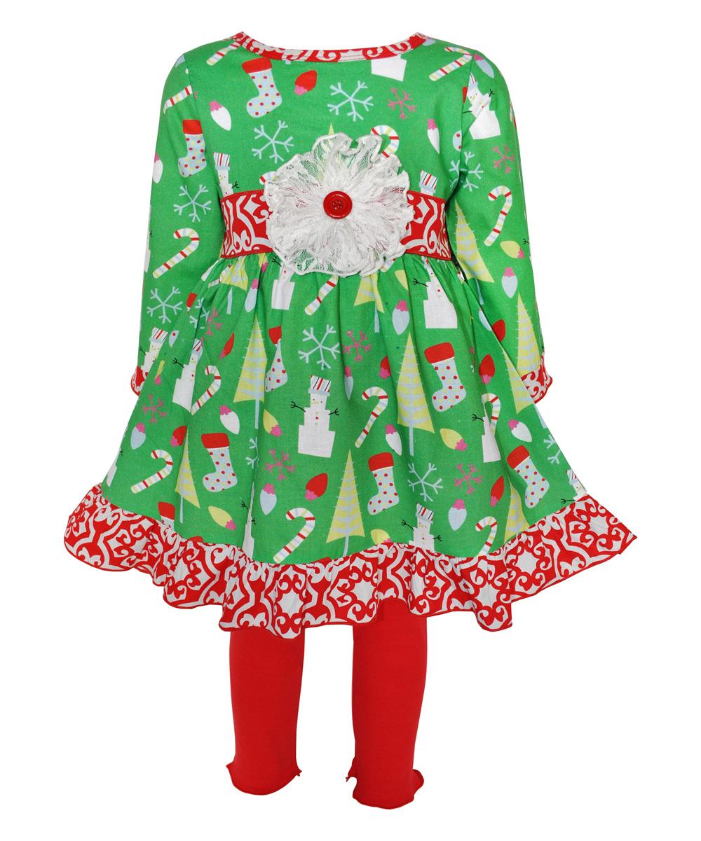 106df031cc21b AnnLoren Red & Green Christmas Tunic & Leggings - Infant | Zulily