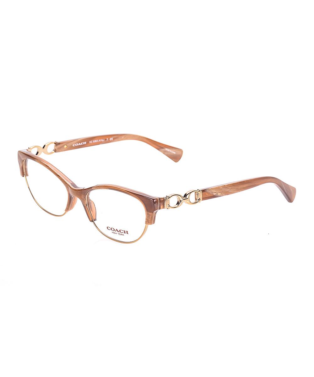 f7b4bd758cd Coach Light Brown Horn   Gold Kitty Eyeglasses
