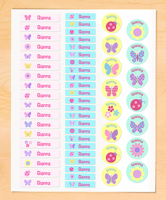 Olive Kids  Labels  - Butterfly Garden Personalized Iron-On Clothing Labels Butterfly Garden Personalized Iron-On Clothing Labels. Your youngster can embellish their clothes in playfully personalized style with these delightful labels featuring their own name. These iron-on accents stick to your clothes through repeated washing and drying. Includes 56 labelsFull graphic text: (personalized text)Small rectangle: 1.75'' W x 0.38'' HLarge rectangle: 2.38'' W x 0.5'' HSheet: 8.5'' W x 11'' HWoven polyesterShipping note: This item will be personalized just for you. Allow extra time for your special find to ship.