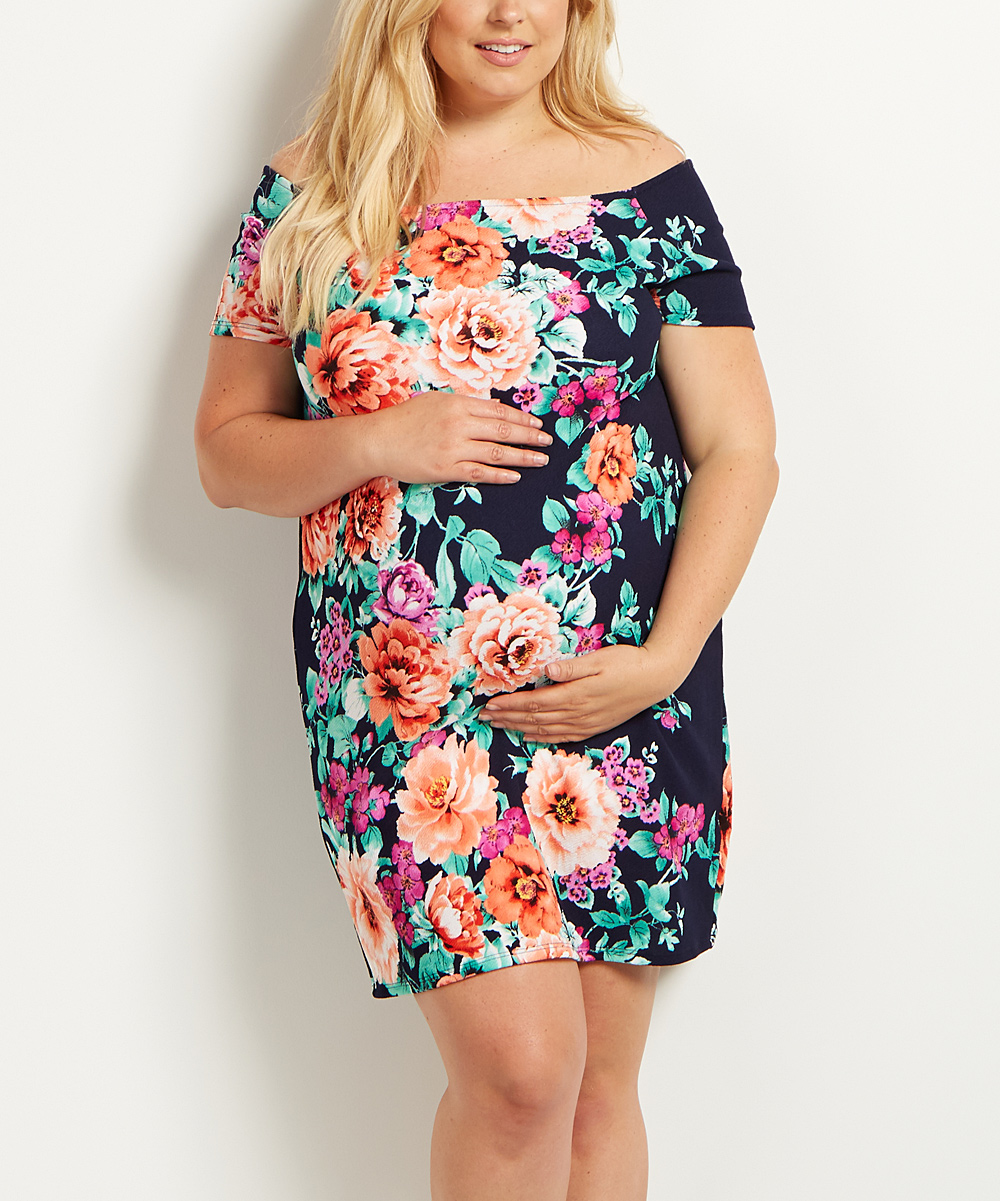 6a94c770dba all gone. PinkBlush Navy Blue Floral Maternity Off-Shoulder Dress ...