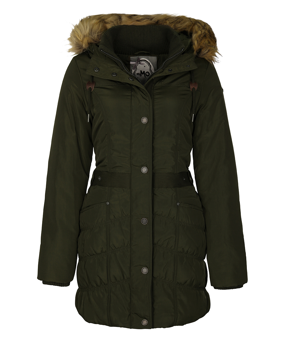 1f914d3e myMO Olive & Brown Faux Fur-Trim Hooded Parka | Zulily