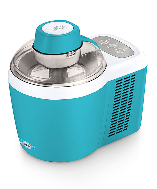 Elite Cuisine  Ice Cream Makers  - Turquoise Thermoelectric Ice Cream Maker Turquoise Thermoelectric Ice Cream Maker. Make your own frozen treats with this easy-to-use ice cream maker, sporting a sleek design to save you space. A unique feature allows the adjustment of the hardness or softness of your ice cream to your liking. 11'' W x 12'' H x 12'' DHolds 24 oz.Plastic / aluminumHand washImported