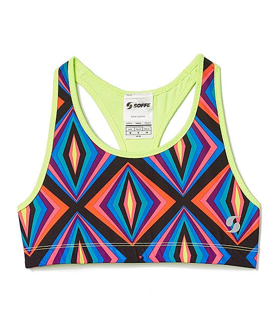 629463552b Soffe Neon Yellow   Purple Geometric Reversible Sports Bra - Girls ...