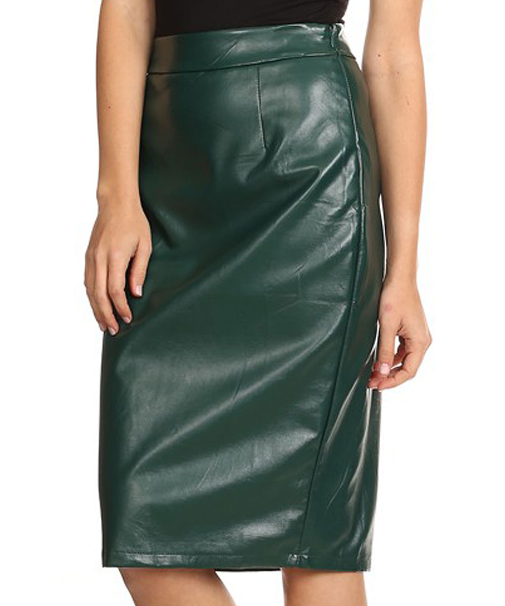 601382bce0 ... Womens GREEN Green Faux Leather Pencil Skirt - Alternate Image 2 ...