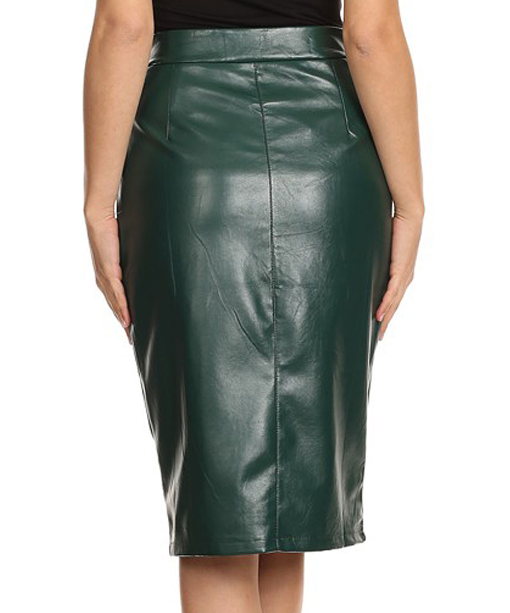 a6ce9c8f19 ... Womens GREEN Green Faux Leather Pencil Skirt - Alternate Image 3