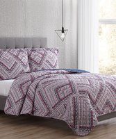 Denim & Pink Geometric Zoe Reversible Quilt Set Deals
