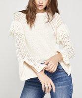 BCBGeneration Off White Open-Knit Slit-Cuff Sweater Women Deals