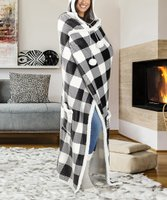 Deals on Safdie & Co Hooded Buffalo Check Pom-Pom Hooded Throw
