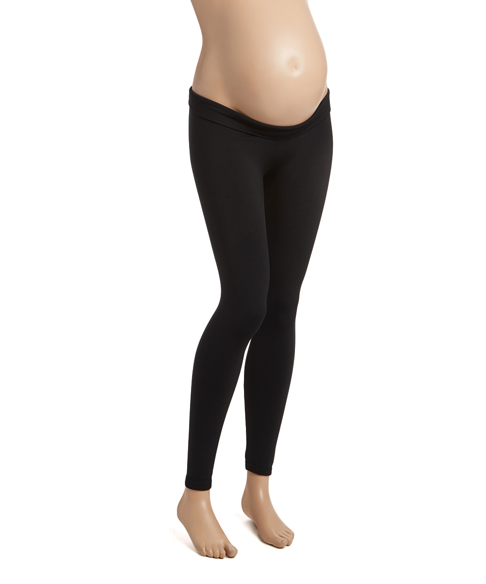 81a8594ce010d1 Contagious Black Fleece-Lined Under-Belly Maternity Leggings | Zulily