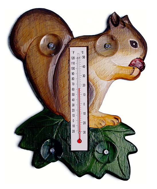 Squirrel Window Thermometer Squirrel Window Thermometer. This charming, window-abiding character adds rustic charm to your decor and helps you keep an eye on the temperature.5.7'' W x 0.8'' H x 4.9'' DWoodImported