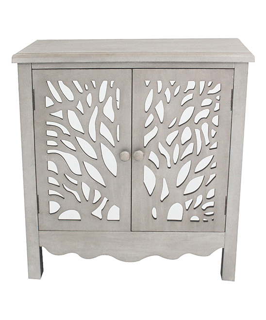 River of Goods  Cabinets Grey - Willow Tree Mirrored Two-Door Cabinet
