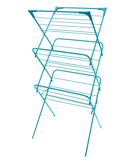 Turquoise Sunbeam Three-Tier Clothes Drying Rack Turquoise Sunbeam Three-Tier Clothes Drying Rack. This expandable clothes dryer offers plenty of space to dry damp clothing then quickly collapses for simple storage. 24.5'' W x 38'' H x 18.5'' DEnamel coated steelCollapsibleImported