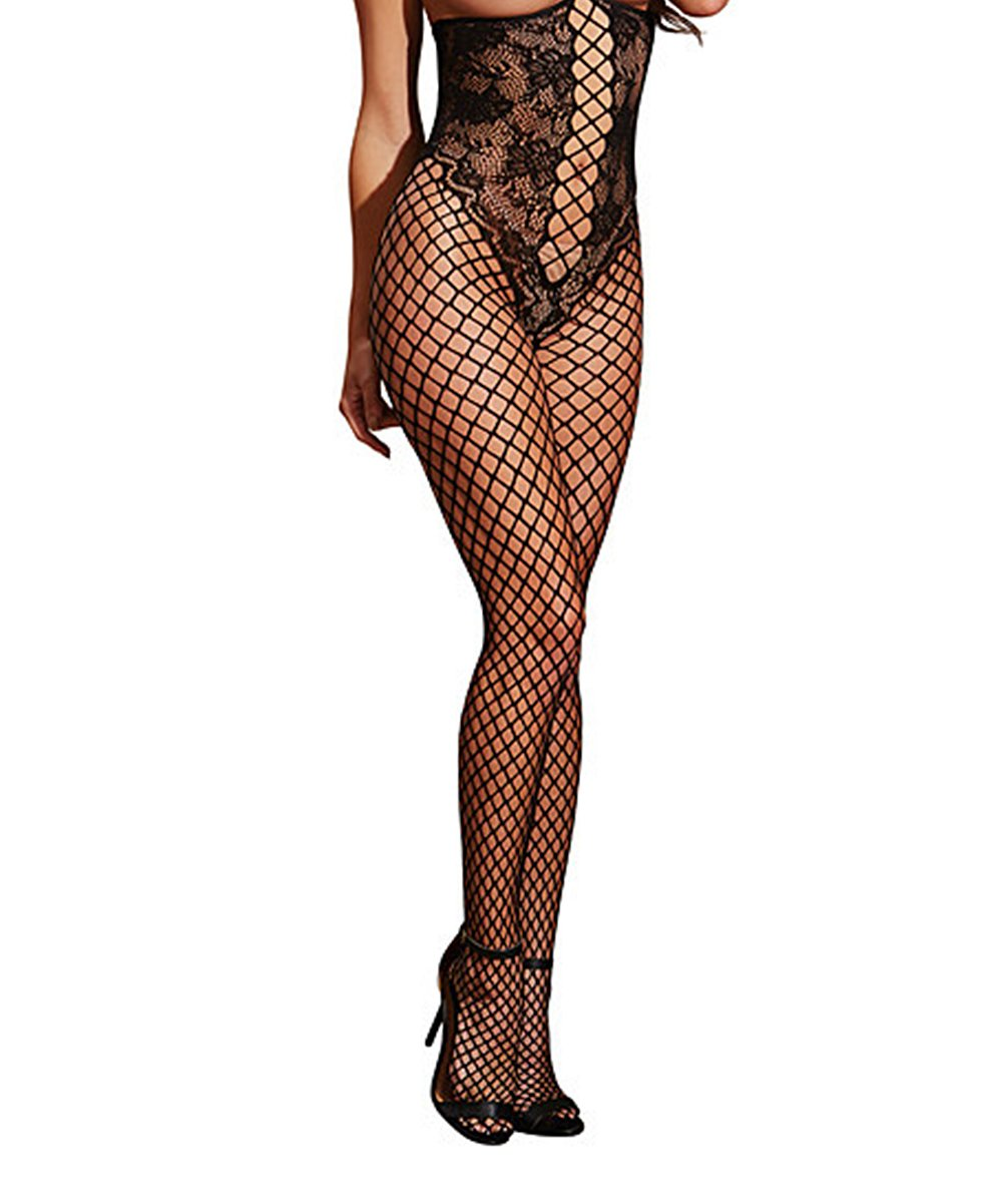 f3680444bc Dreamgirl Black Lace   Fishnet Under-Bust Body Stocking