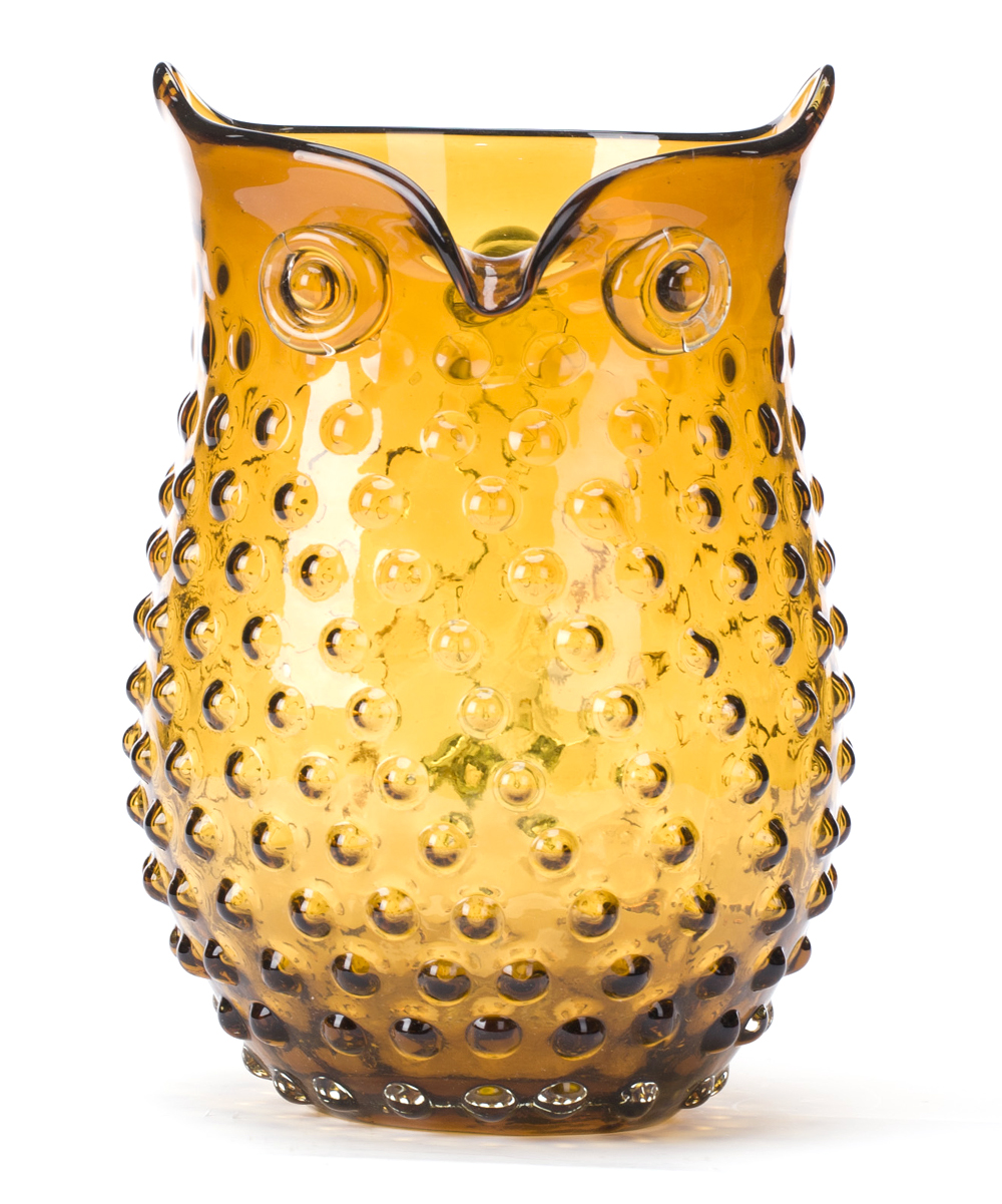 Hobnail Owl Vase. An amber hue brings a new shade of style to this glass vase that is sure to be a hoot with friends and family. 9.06\\\'\\\' H x 6.3\\\'\\\' diameterGlassImported