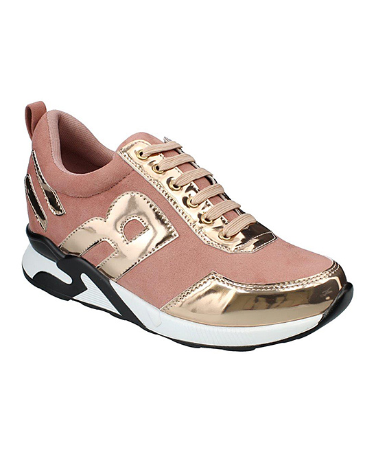 moca Women's Sneakers ROSEGOLD - Rose & Gold Patent-Trim Sports Sneaker - Women