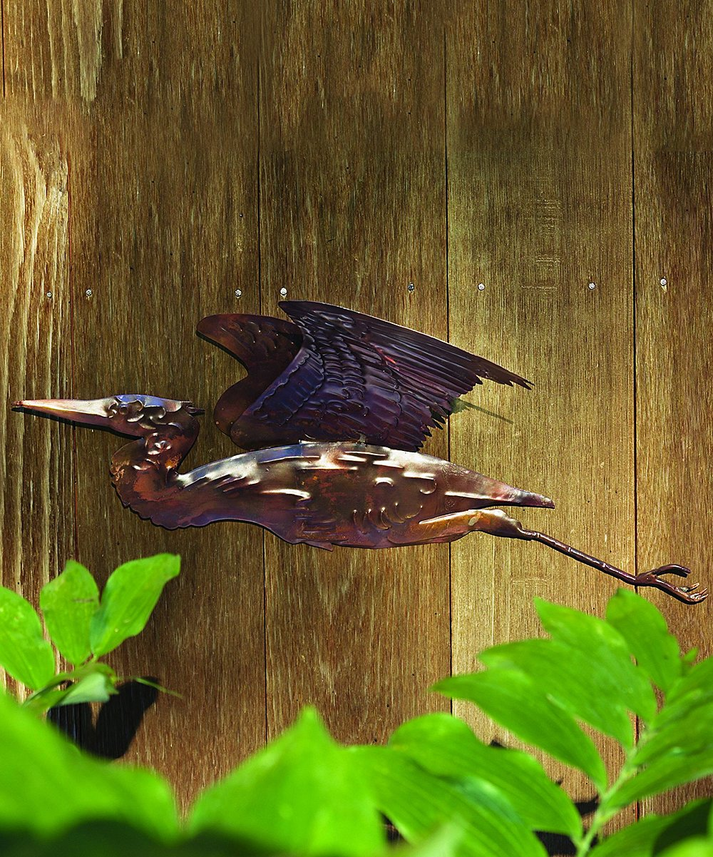 Ancient Graffiti  Outdoor Wall Decor Flamed - Flamed Copper Heron Wall Hanging