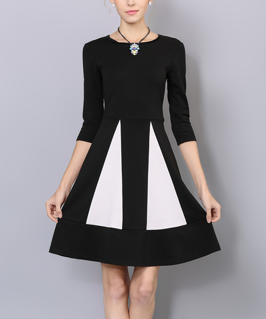 Coeur De Vague Black White Pleated Fit Flare Dress Women Zulily