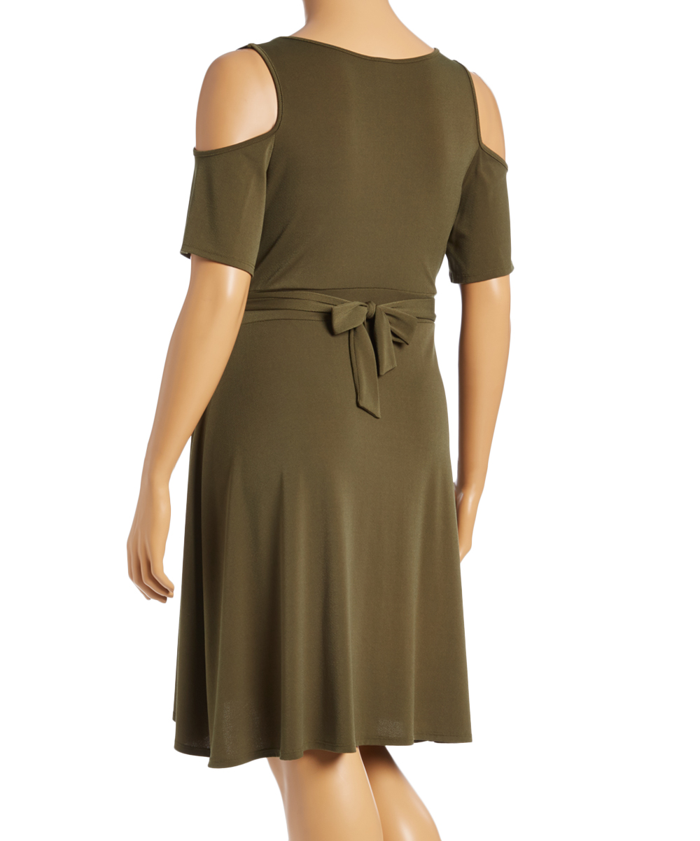 7c764f184f9 love this product Olive Cold Shoulder Wrap Dress - Plus