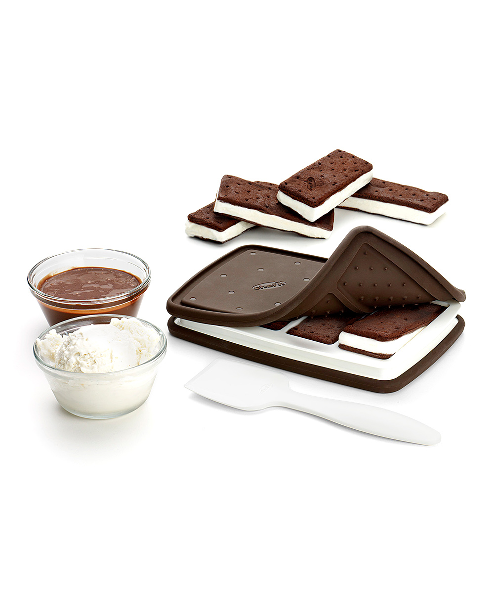 Chef'n  Ice Cream Makers Brown/White - Ice Cream Sandwich Maker Ice Cream Sandwich Maker. With contoured molds, create your own tasty ice cream treats thanks to this next-level device. Includes scoop, silicone casing and recipes8.5'' W x 5.5'' H x 1.75'' DSilicone / plasticDishwasher-safeImported