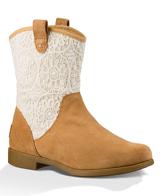 d71159a328f UGG® Chestnut Dahlia Lace Suede Western Boot - Girls