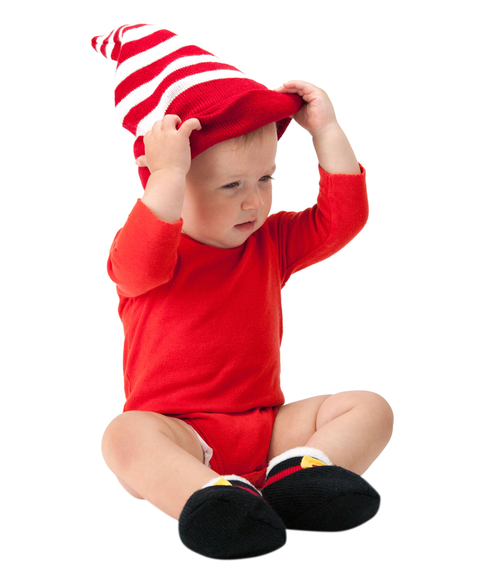 2996f27e78b ... Red   White Stripe Santa Hat Beanie   Black Booties - Alternate ...