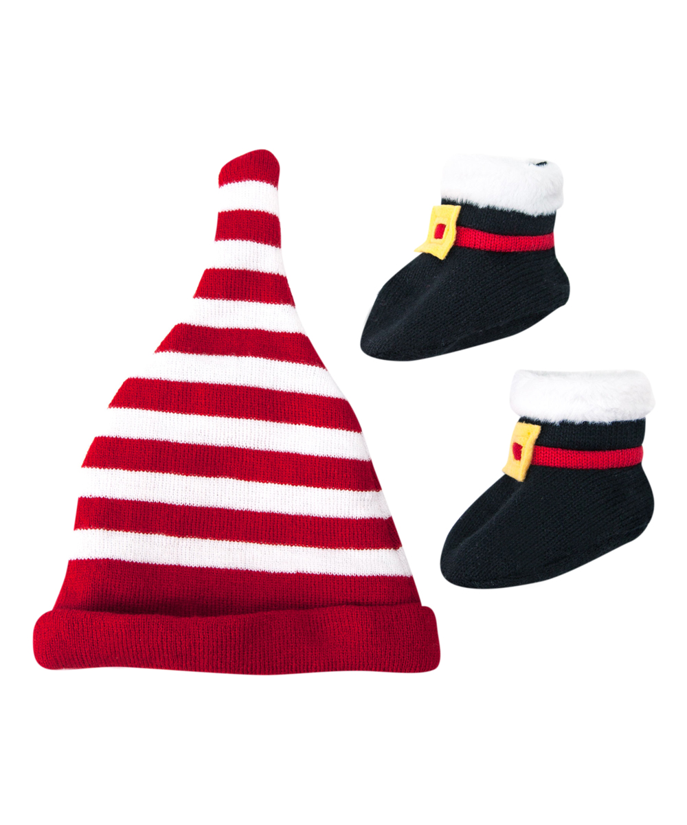 3fc72b4ccfd all gone. Red   White Stripe Santa Hat Beanie   Black Booties ...