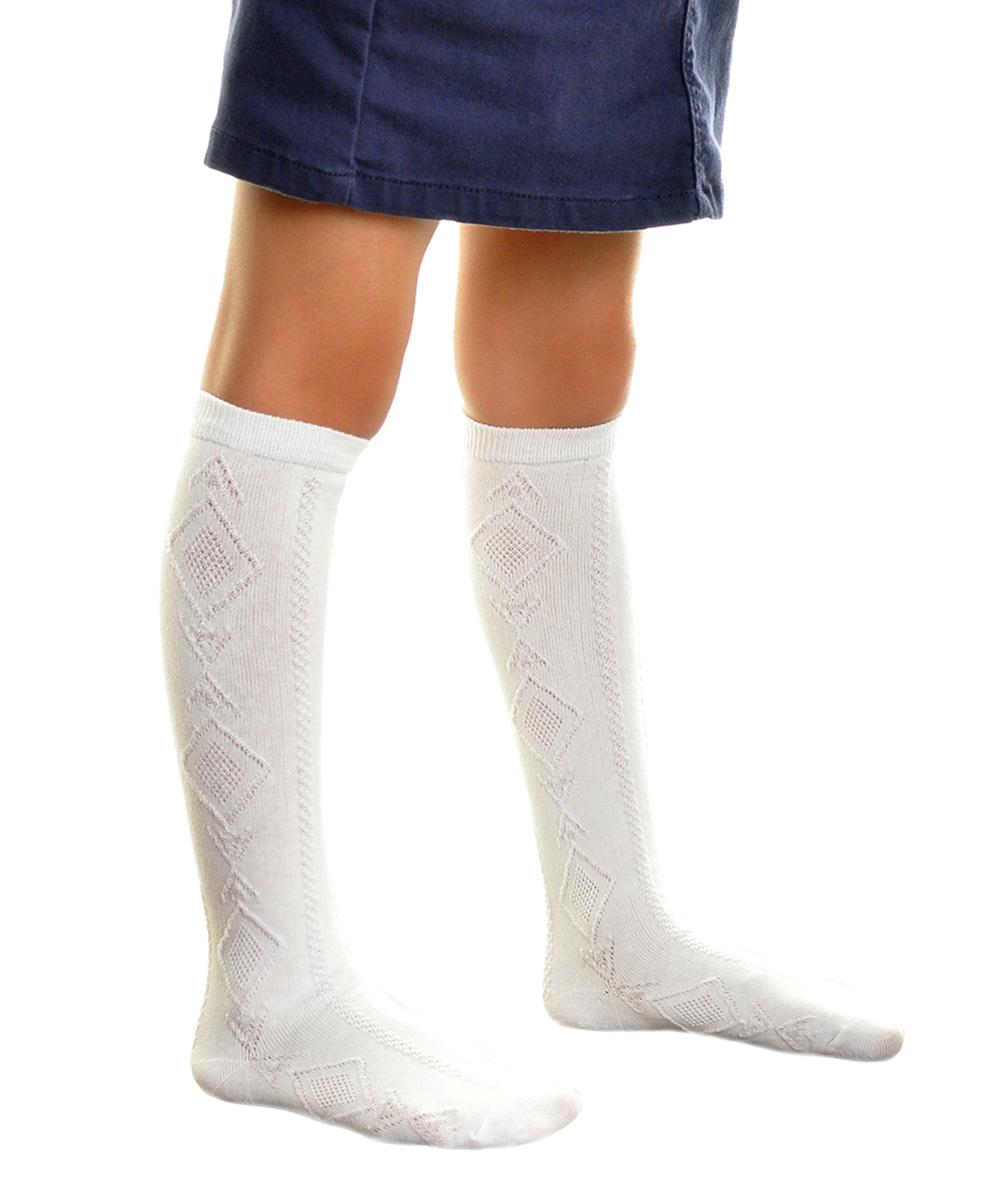 e7b6d7fe450b1 Angelina White Diamond-Knit Knee-High 12-Pair Socks Set - Kids   Zulily