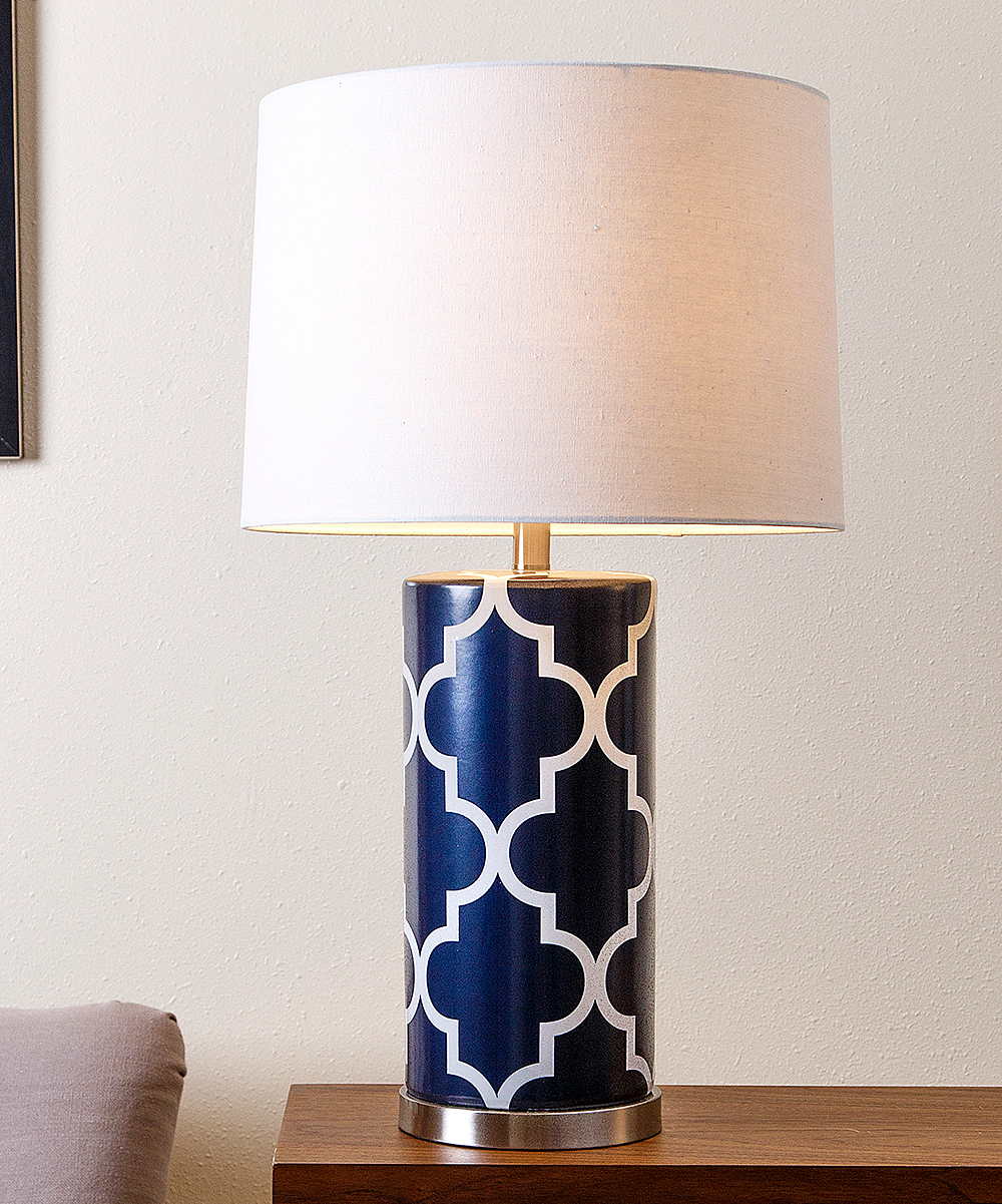 White Navy Blue Lattice Table Lamp Zulily