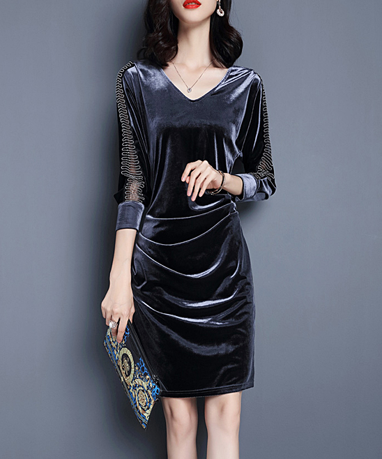 Vicky And Lucas Gray Velvet Lace Sleeve V Neck Dress Women Zulily