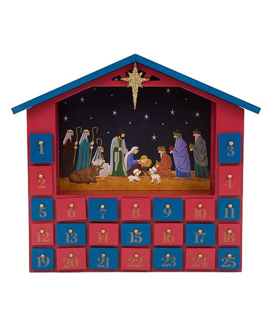 Glitzhome Red Blue Nativity Drawers Wooden Advent Calendar