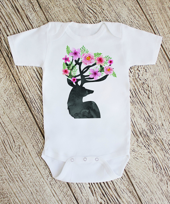 White & Pink Deer With Flowers Bodysuit - Newborn & Infant