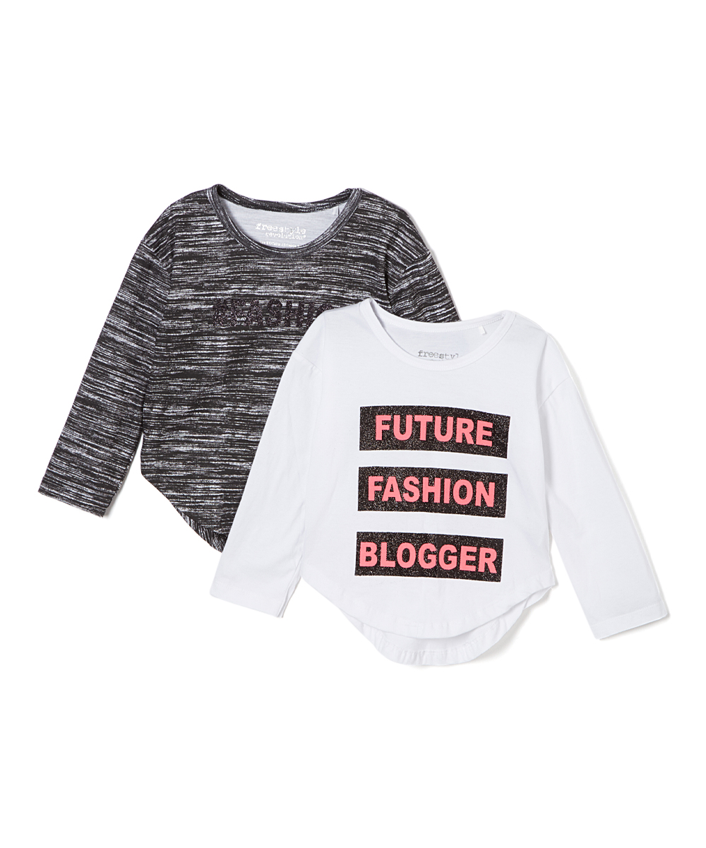 Dark Gray 'Future Fashion Blogger' tee Set - Girls Dark Gray 'Future Fashion Blogger' tee Set - Girls. Keep your superstar's look trendy all the time with this set of two fabulous tees.Includes two tees100% cottonMachine wash; tumble dryImported