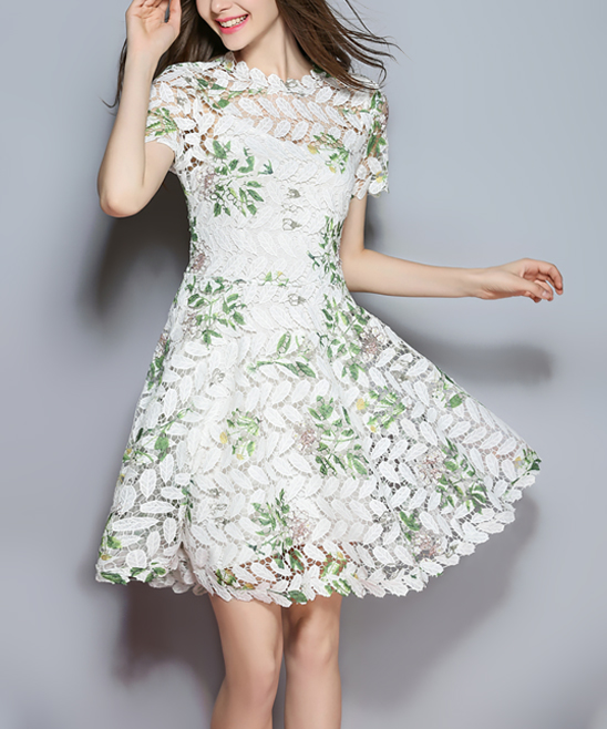 29453e1d6 YYFS White   Green Lace Leaf A-Line Dress - Women