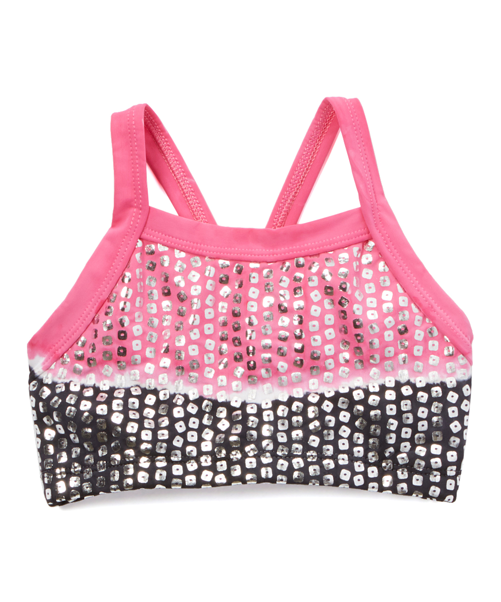 Angela Dip Fotos angela frost black & pink sequin dip-dye racerback crop top - toddler &  girls