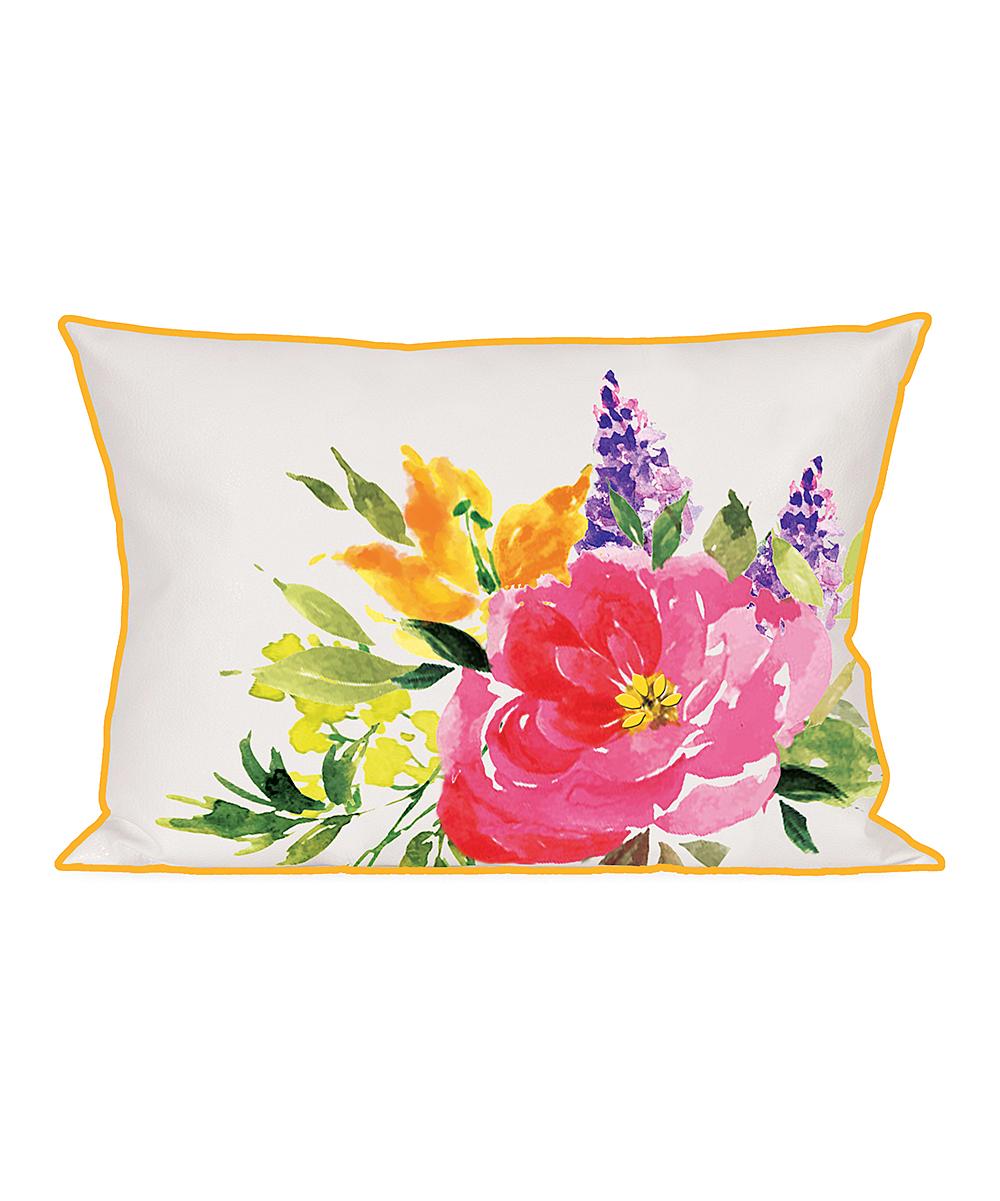 New Creative  Patio Decorative Pillows  - Pink Watercolor Flower Lumbar Indoor/Outdoor Pillow