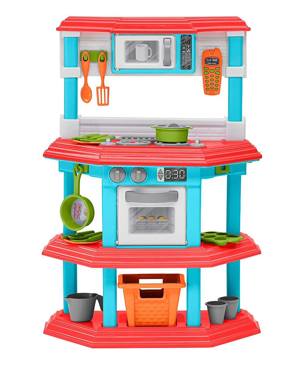 My Gourmet Kitchen Set My Gourmet Kitchen Set. This mini kitchen comes with everything a budding chef could want: pots, pans, utensils and all the appliances, of course. Plenty of shelf space and a handy basket keep things organized so clutter never gets in the way of creating pretend gourmet masterpieces. Includes kitchen, basket and 22 play accessories10.25'' W x 29.63'' H x 9'' DPlasticAssembly requiredRecommended for ages 2 years and up