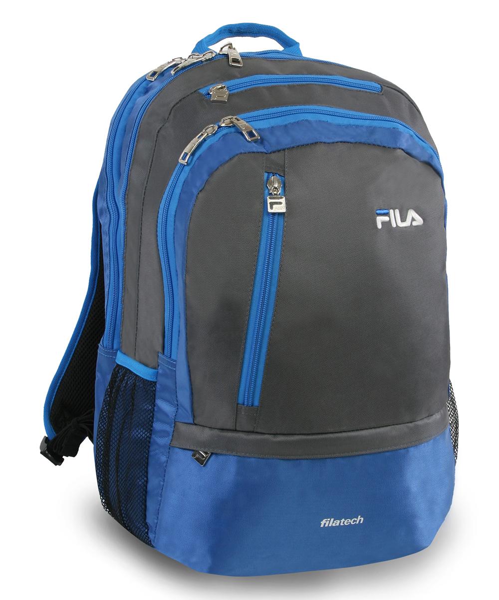 Gray   Blue FILA Duel Tablet   Laptop Backpack