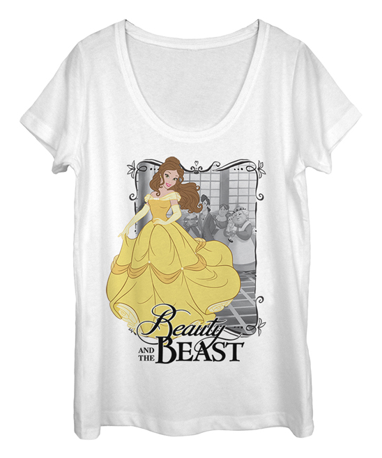 Fifth Sun Women's Tee Shirts WHITE - Beauty and the Beast Dancing Belle Scoop Neck Tee - Women & Juniors