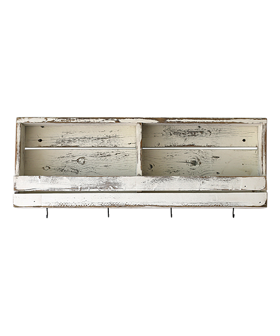Doug Cristy Designs White Rustic Slatted Wall Shelf