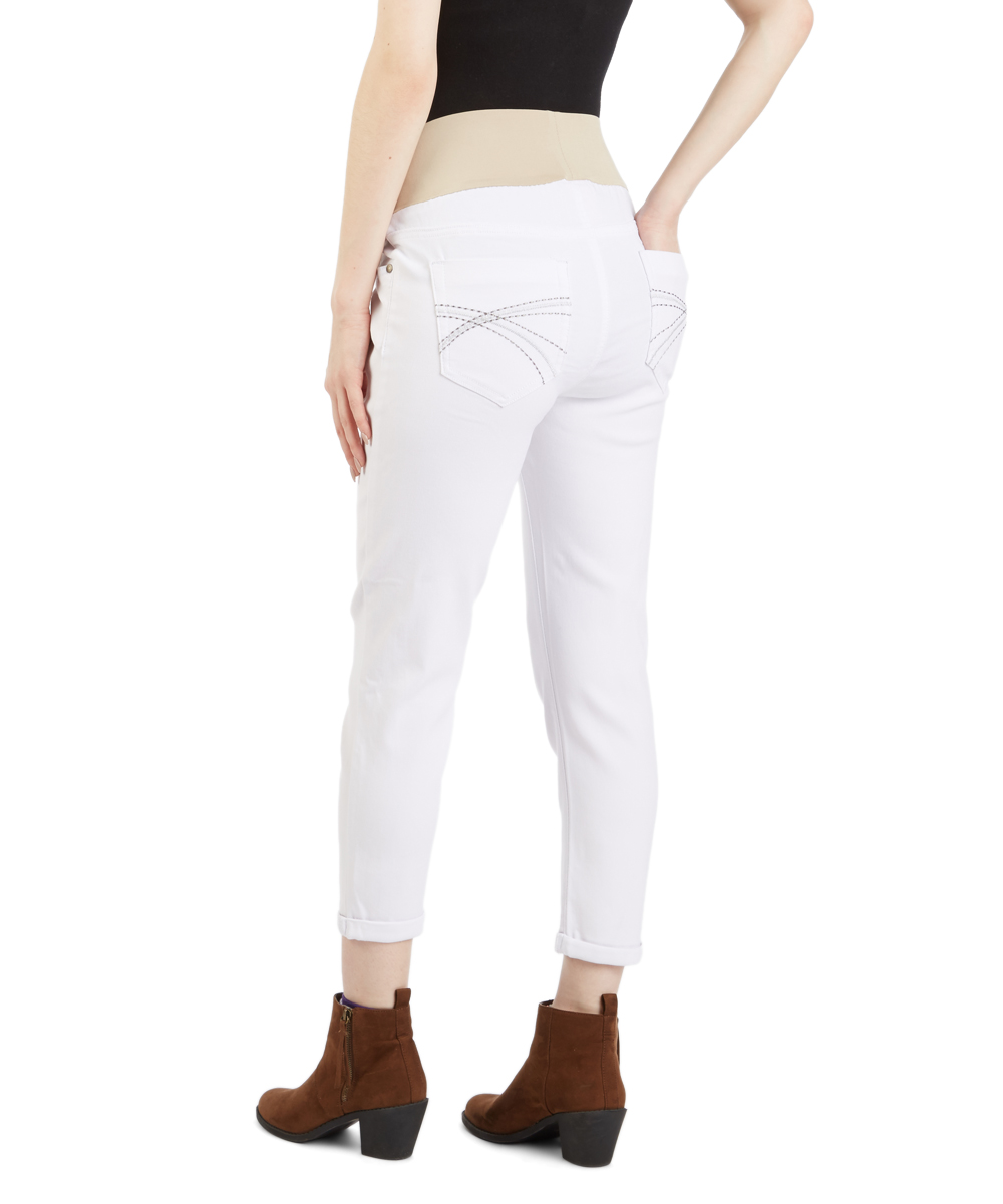 bc93aa2f496 love this product White Under-Belly Twill Maternity Skinny Capri Jeans