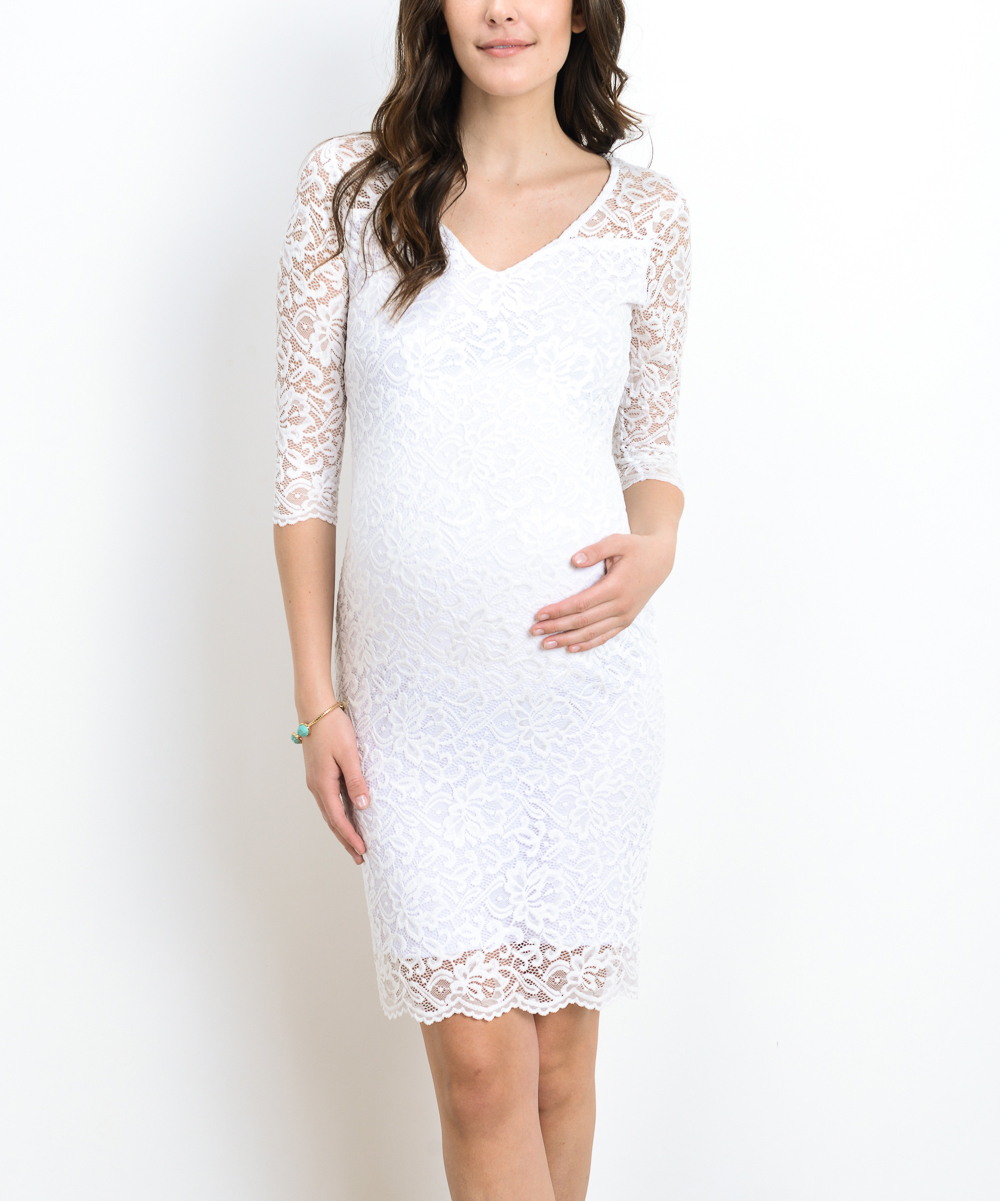 Hello miz maternity white lace v neck maternity bodycon dress zulily maternity bodycon dress share share ombrellifo Choice Image