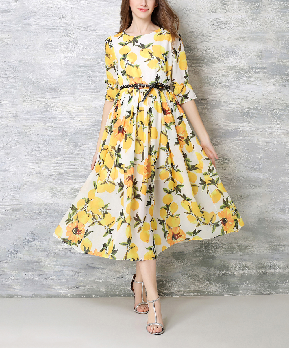 7a030c6f054 love this product Yellow Lemon Belted Boatneck Dress - Women