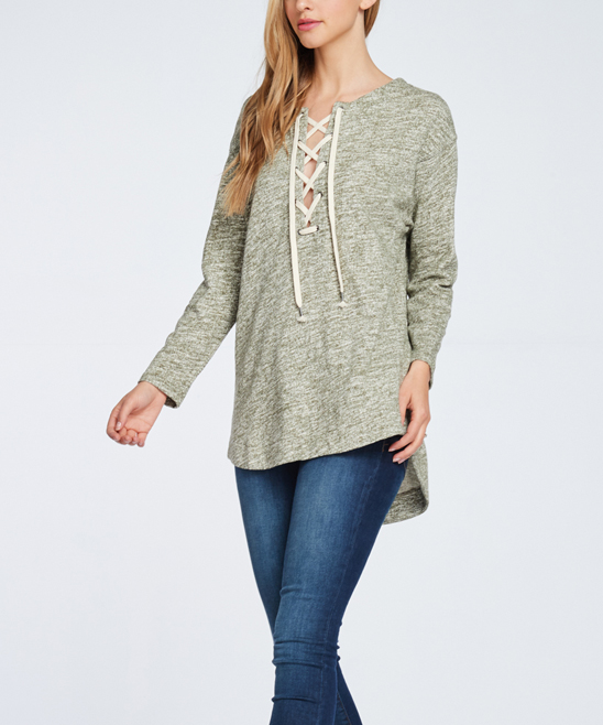 Miss Love Olive Melange Lace-Up Front Sweater  9fd4ab5ff