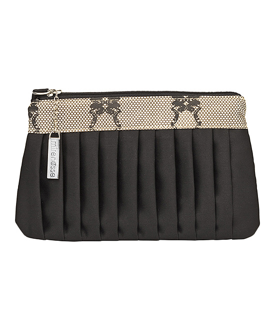 Black Satin Sheets Boutique Zip Pouch Black Satin Sheets Boutique Zip Pouch. This slim, satin purse boasts an elegant pleated detail and stores makeup brushes and slender beauty products in sophisticated style. 7.8'' W x 4.7'' H20cm W x 12cm HSatinZip closureImported