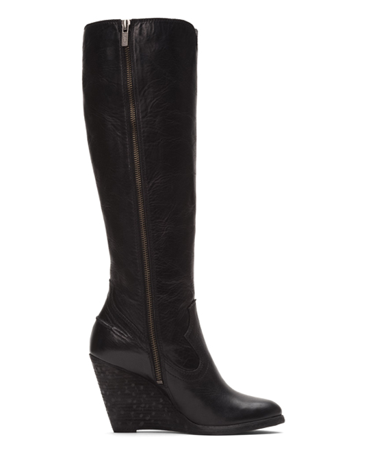 e009ca36138 love this product Black Cece Seam Tall Leather Wedge Boot
