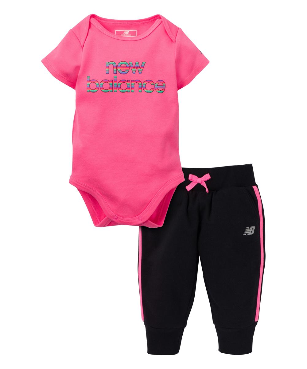 cea268e9c1008 New Balance Pink Logo Bodysuit & Black Joggers - Infant | Zulily