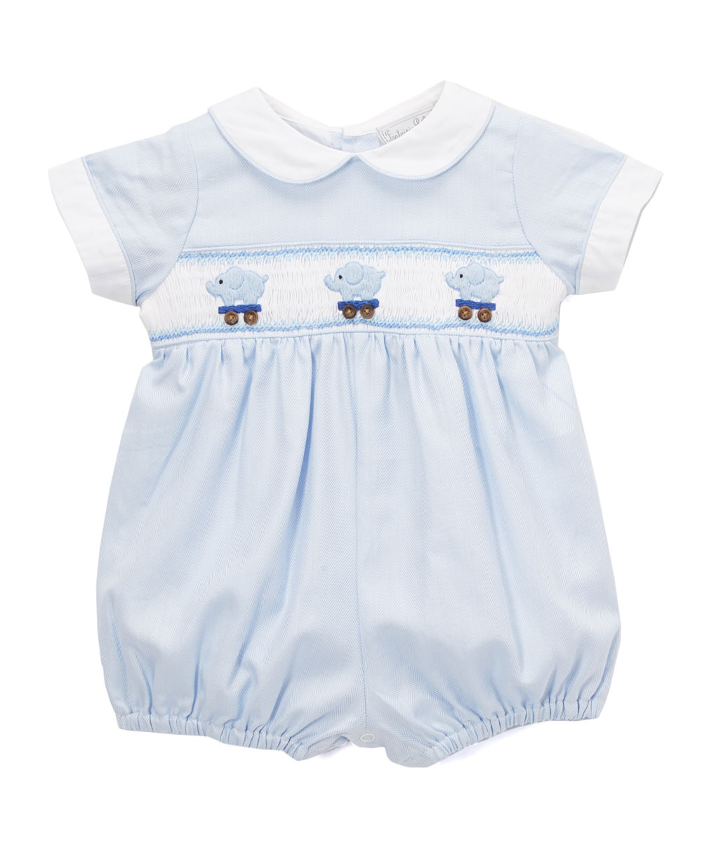04a5a34ae97c Fantaisie Bebes Blue Elephant Smocked Bubble Romper - Infant