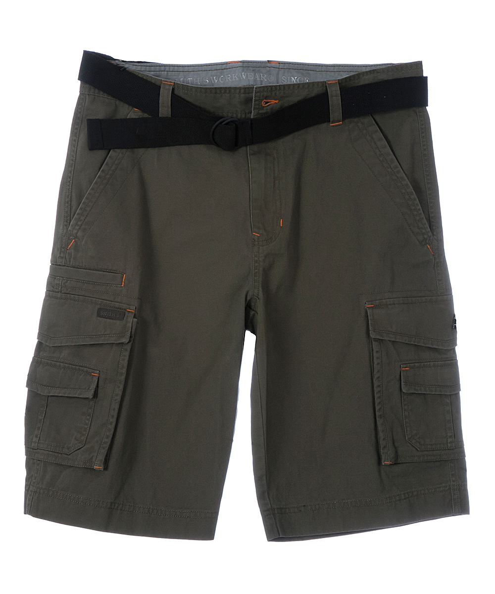 Dark Olive Belted Twill Shorts - Men & Big Dark Olive Belted Twill Shorts - Men & Big. Plenty of pockets keep essentials close at hand in these breathable, lightweight shorts. A coordinating belt completes the look. Includes shorts and beltSize 32: 10'' inseam100% cottonMachine washImported